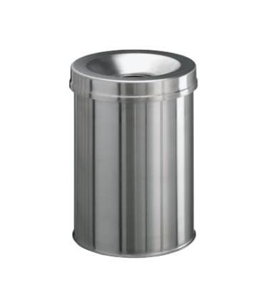Stahlpapierkorb 15 Liter mit Flammenlöschkopf+ Edelstahl