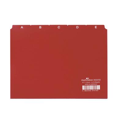 Leitregister Kunststoff A-Z A5-quer rot 25-teilig