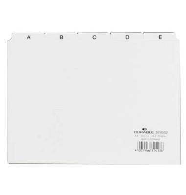 Leitregister Kunststoff A-Z A5-quer weiß 25-teilig