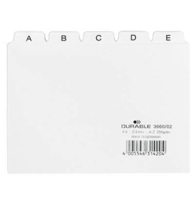 Leitregister Kunststoff A-Z A6-quer weiß 25-teilig