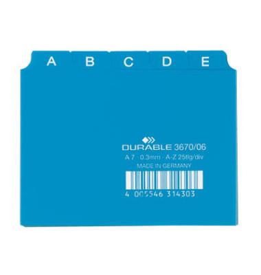 Leitregister Kunststoff A-Z A7-quer blau 25-teilig
