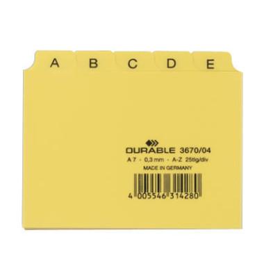 Leitregister Kunststoff A-Z A7-quer gelb 25-teilig