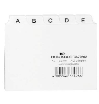 Leitregister Kunststoff A-Z A7-quer weiß 25-teilig
