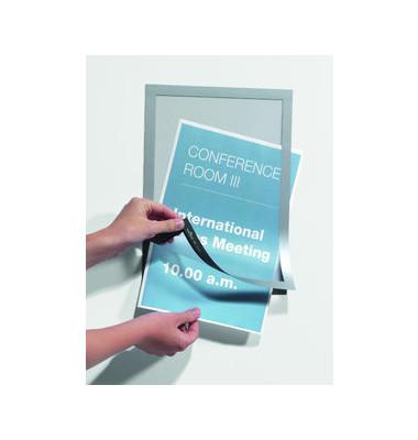 Infotaschen Magaframe magnet. silber A4 10 Stück