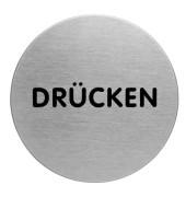 """Piktogramm """"Drücken"""" rund metallic silber Ø 65mm"""
