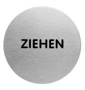 """Piktogramm """"Ziehen"""" rund metallic silber Ø 65mm"""