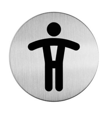 """Piktogramm """"WC Herren"""" rund metallic silber Ø 83mm"""