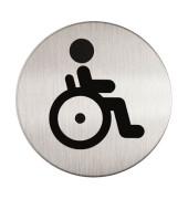 """Piktogramm """"Behinderten-WC"""" rund metallic silber Ø 83mm"""