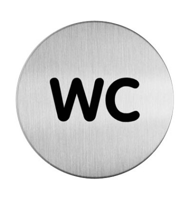 """Piktogramm """"WC"""" rund metallic silber Ø 83mm"""