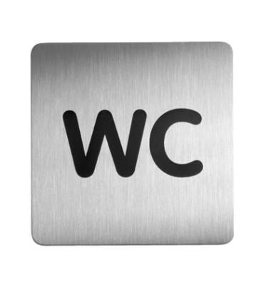 "Piktogramm ""WC"" eckig metallic silber 150x150mm"