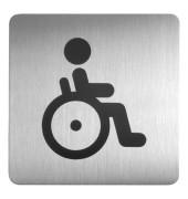 """Piktogramm Symbol """"Behinderten-WC"""" eckig metallic silber 150x150mm"""
