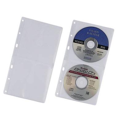 CD/DVD-Hüllen Cover S für 2 CD/DVD transparent 6-fach Lochung PP 5 Stück