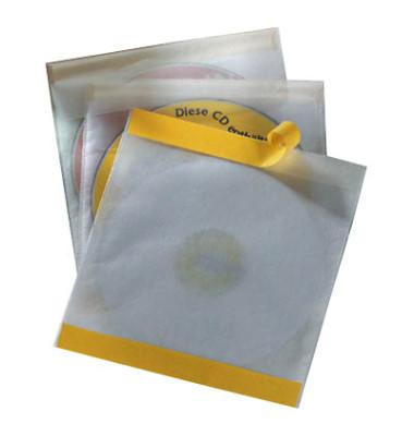 CD/DVD-Hüllen Fix für 1 CD/DVD transparent mit Verschlussklappe selbstklebend PP 10 Stück