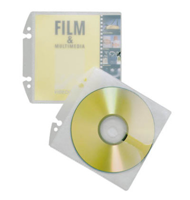 CD/DVD-Hüllen CoverEasy für 1-2 CD/DVD transparent 80mm Lochung PP 10 Stück