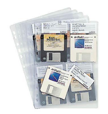 Diskettenhüllen Diskoflex A4 für 4x 3,5 Zoll-Disketten transparent 5 Stück