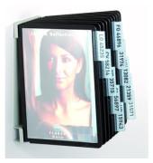 Sichttafelwandhalter VARIO A5 schwarz mit 10 Tafeln/Reiter