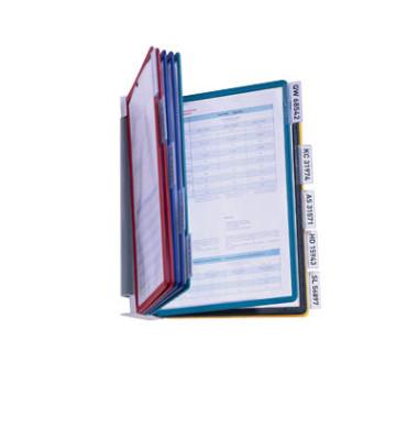 Sichttafelwandhalter VARIO A4 sortiert mit 10 Tafeln/Reiter