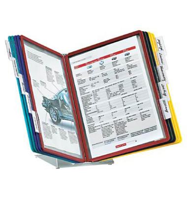 Sichttafelständer VARIO Table10 A4 sortiert mit 10 Tafeln/Reiter