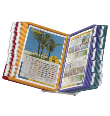 Sichttafelständer VARIO TABLE A4 mit 20 Tafeln grau