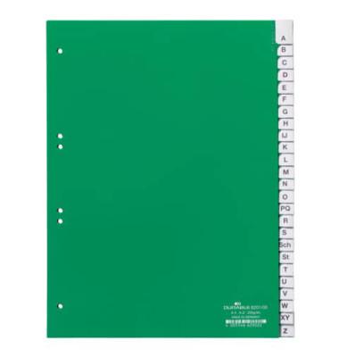 Kunststoffregister 6201-05 A-Z A4 0,12mm grüne Fenstertaben zum wechseln 25-teilig