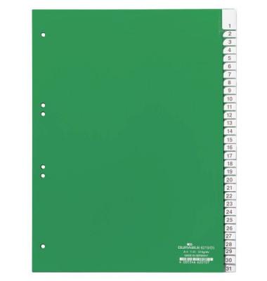 Kunststoffregister 6219-05 1-31 A4 0,12mm grüne Fenstertaben zum wechseln 31-teilig