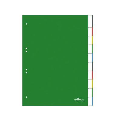 Kunststoffregister 6221-05 blanko A4 0,12mm grüne Fenstertaben zum wechseln 10-teilig