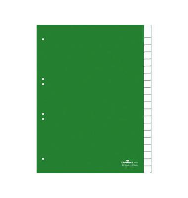 Kunststoffregister 6223-05 blanko A4 0,12mm grüne Fenstertaben zum wechseln 20-teilig