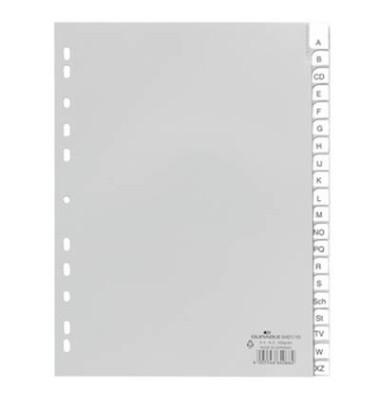 Kunststoffregister 6401-10 A-Z A4 0,12mm graue Fenstertabe zum wechseln 20-teilig