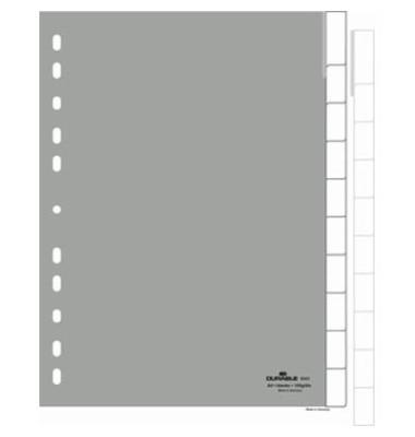 Kunststoffregister 6441-10 blanko A4 0,12mm graue Fenstertabe zum wechseln 10-teilig