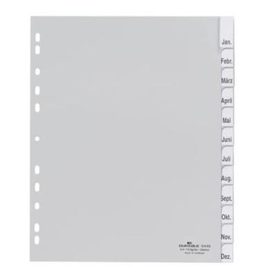 Kunststoffregister 6446-10 blanko A4 0,12mm graue Fenstertabe zum wechseln 12-teilig