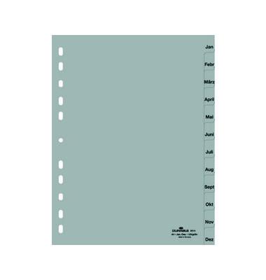 Kunststoffregister 6514-10 Januar-Dezember A4 0,12mm graue Taben 12-teilig