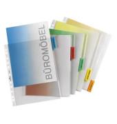 Register 6630 blanko m.Farbstreif. transp. Fenstertabe 302x235/250 5-tlg. Hüllenregister A4