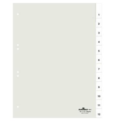 Kunststoffregister 6810-19 1-12 A4 0,12mm weiße Fenstertaben zum wechseln 12-teilig