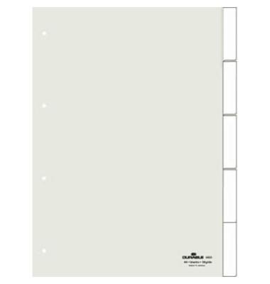 Kunststoffregister 6820-19 blanko A4 0,12mm weiße Fenstertaben zum wechseln 5-teilig