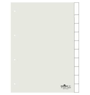 Kunststoffregister 6821-19 blanko A4 0,12mm weiße Fenstertaben zum wechseln 10-teilig
