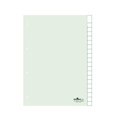 Kunststoffregister 6823-19 blanko A4 0,12mm weiße Fenstertaben zum wechseln 20-teilig