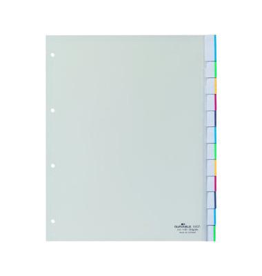 Kunststoffregister 6831-19 blanko A4+ 0,12mm weiße Fenstertaben zum wechseln 10-teilig