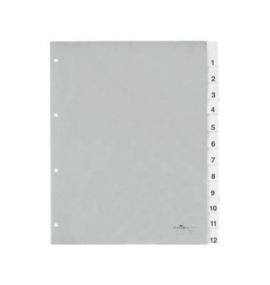 Kunststoffregister 6835-19 1-12 A4+ 0,12mm weiße Fenstertaben zum wechseln 12-teilig