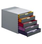 Schubladenbox Varicolor 7605-27 grau/bunt 5 Schubladen geschlossen