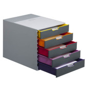 Schubladenbox Varicolor grau/bunt 5 Schubladen geschlossen