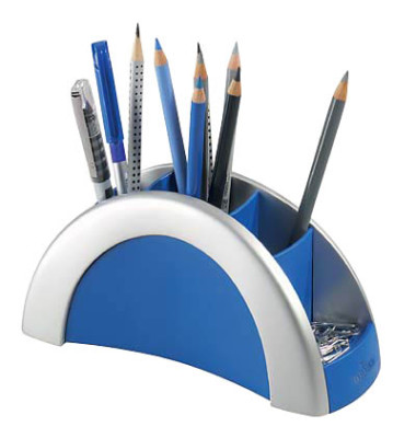 Schreibgeräteköcher PENHOLDER m.5 Fächer silber 205x80x90mm