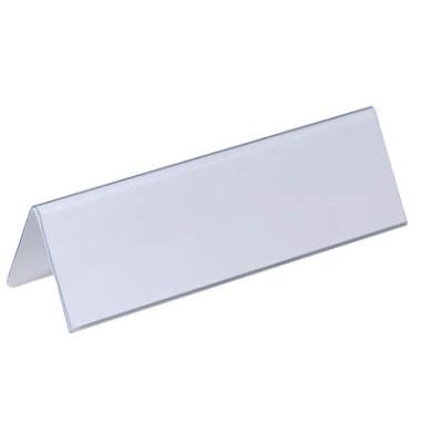 Tisch-Namensschilder Dachform transp. 61 x 210mm 25 Stück