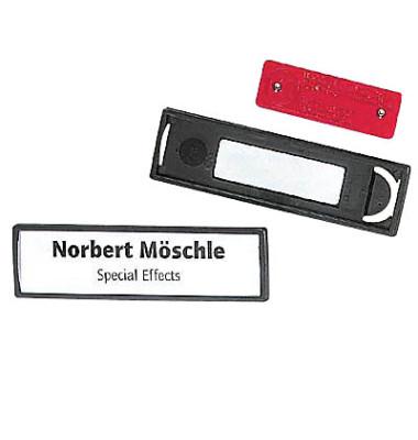 Namensschild mit Magnet schwarz 17 x 67mm 25 St