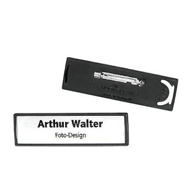 Namensschild mit Plattennadel schwarz 17 x 67mm 25 St