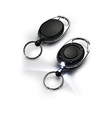 Schlüsselring Jojo Style LED schwarz m.Metallclip