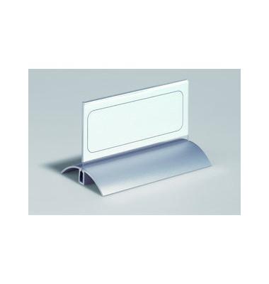 Tisch-Namensschild Acryl/Alu transparent 61 x 122 mm 2 Stück