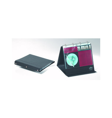 Tisch-Flipchart A4-quer 4-Ringe schwarz 10 Hüllen