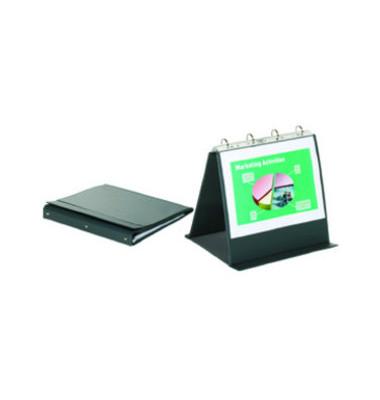 Tisch-Flipchart Economy A4-quer 4-Ringe anthrazit 10 Hüllen