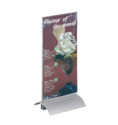 Tischaufsteller Presenter T-Form 1/3 A4-hoch glasklar für beidseitige Präsentation