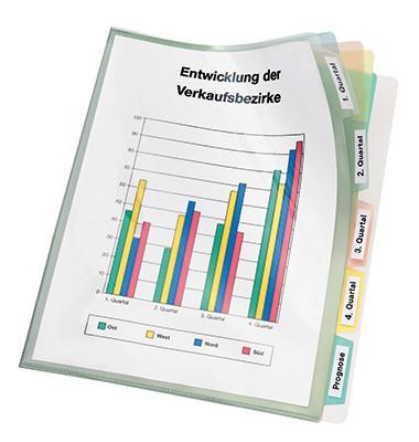 4540 A4 Sichthüllen genarbt mit 5 farbigen Registertaben